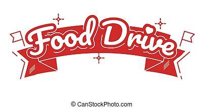 guidare, vettore, cibo, carità, movimento, illustrazione