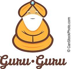 guru, moderno, meditare, vettore, minimalistic, logotipo