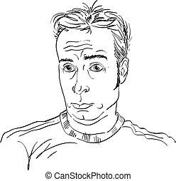 guy., immagine, giovane, illustrazione, hand-drawn, vettore, nero, abbicare, monocromatico, bianco, sorpreso, man.