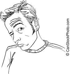 guy., vettore, o, ritratto, ubriaco, suo, disegno, nero, ingannevole, bianco, giocatore d'azzardo, rughe, uomo, forehead.