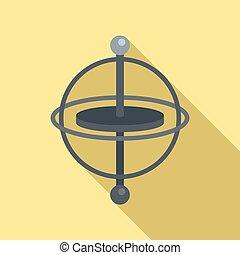 gyro, accelerometer, impeto, appartamento, giroscopio, vector., icona