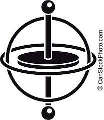 gyro, accelerometer, impeto, giroscopio, vector., semplice, icona