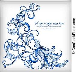 gzhel, blu, acquarello, vettore, fondo., dettagli