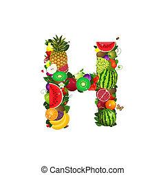 h, frutta, succoso, lettera