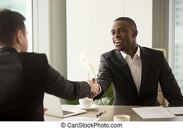 ha, affari, caucasico, attraente, socio, africano, uomo affari