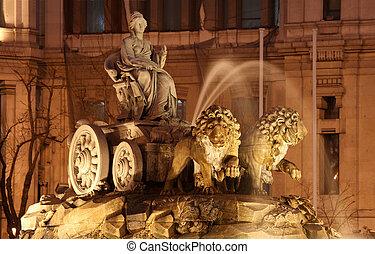 ha, neoclassico, diventare, spagnolo, fontana, capital., 1782, piazza, spain., punto di riferimento, era, costruito, 1777, de, fra, iconic, cibeles, questo, madrid