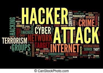 hacker, attacco, etichetta, parola, nuvola
