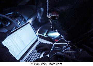 hacker, automobile, dentro
