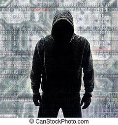 hacker, binario, codici, silhouette