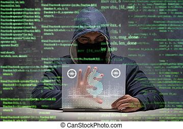 hacker, dollari, banca, rubare