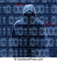 hacker, nero, silhouette, isloated