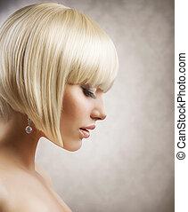 haircut., acconciatura, ragazza, hair., sano, biondo, corto, bello