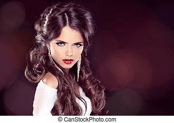 haircut., coloritura, hairstyle., bellezza, professionale, riccio, makeup., capelli, girl., donna, fringe., lucido, hair., elegante, modello, moda, extensions.