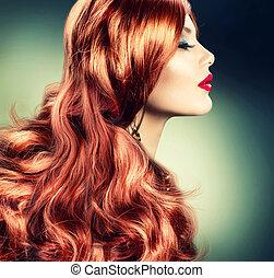 haired, ragazza, moda, rosso, ritratto