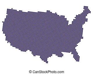 halftone, unito, america, illustrazione, vettore, mappa, stati
