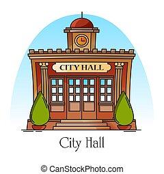 hall., città, costruzione, governo, linea sottile