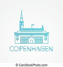 hall., città, simbolo, denmark., copenaghen