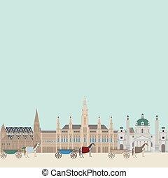 hall., città, vienna., elementi, punto di riferimento, viaggiare, viste, città, austria, karlskirche, architettura, cityscape, austriaco, stephansdom, viaggio