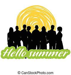hallo, estate, illustrazione, persone