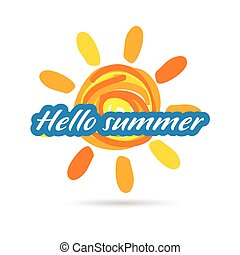 hallo, estate, illustrazione, sole