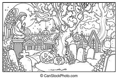 halloween, angelo, coloritura, cimitero, fondo, statua, pagina, delineato, cripte, preghiera