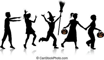 halloween, bambini, notte