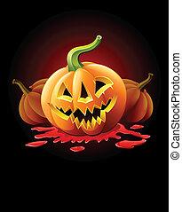 halloween, cricco-o-la lanterna, sangue, zucca