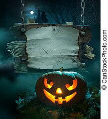 halloween, disegno, fondo