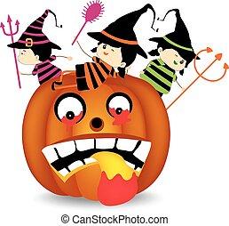 halloween, il portare, costume, bambini