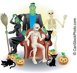 halloween, illustrazione, gruppo