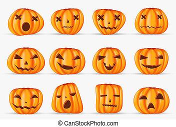 halloween, isolato, elemento, decorazione, realistico, fondo, zucca, felice