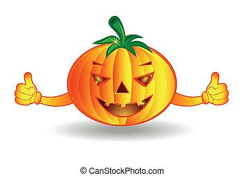 halloween, isolato, fondo, bianco, felice, zucca