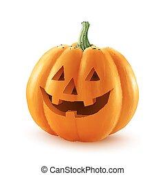 halloween, isolato, pumpkin., faccia, realistico, vettore, fondo, bianco, felice