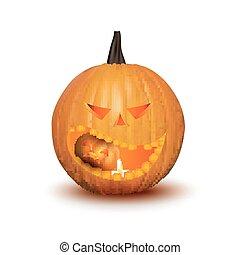 halloween, isolato, zucca