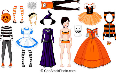 halloween, ragazza, costumi