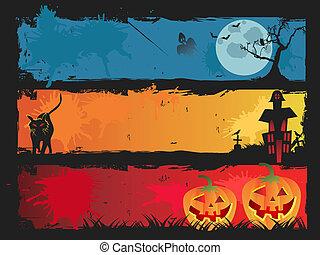 halloween, set, bandiera