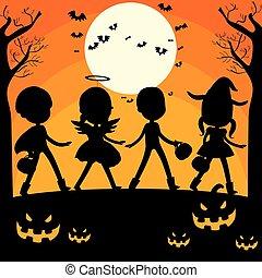 halloween, silhouette, bambini