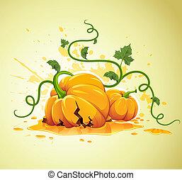 halloween, zucca, grunge, fondo, rotto
