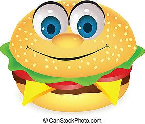 hamburger, carattere, cartone animato