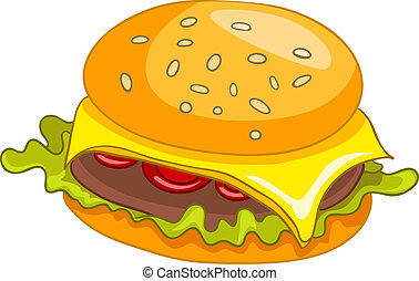 hamburger, cartone animato