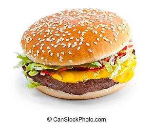 hamburger, closeup, isolato, foto