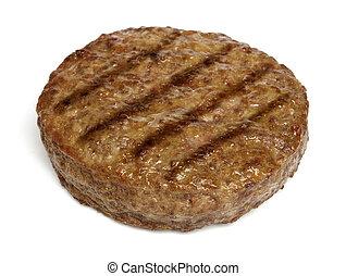 hamburger, cotto ferri, isolato, bianco