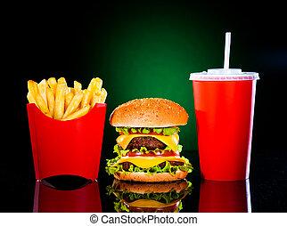 hamburger, frigge, francese, scuro, saporito, verde