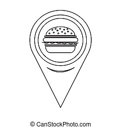 hamburger, mappa, puntatore, icona