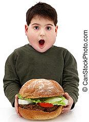 hamburger, obeso, gigante, affamato, ragazzo
