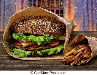 hamburger, tavola, frigge, saporito, legno, francese, grande
