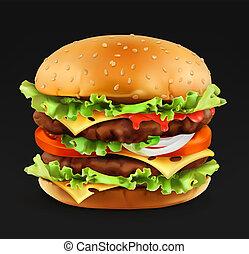 hamburger, vettore, 3d, realistico, icona