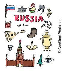 hand-drawn, set, russia, icone