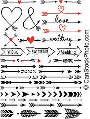hand-drawn, vettore, set, frecce