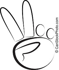 hand-peace, logotipo, simbolo, vettore